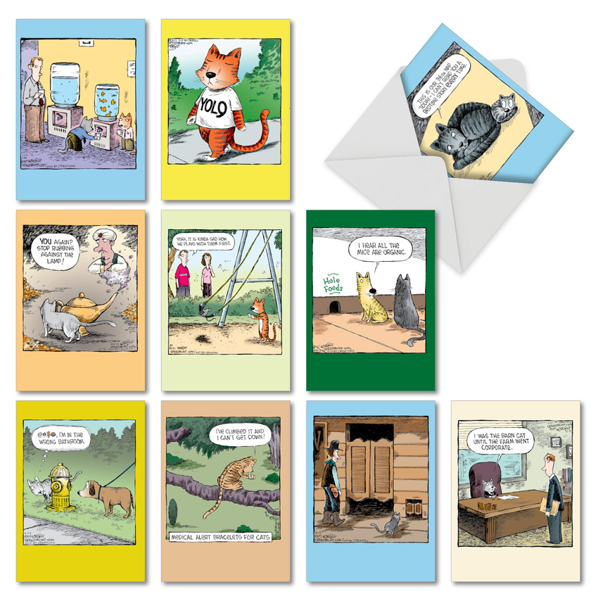 Dave Coverly's Feline Funnies: Hysterical Birthday Assorted Set of 10 Cards