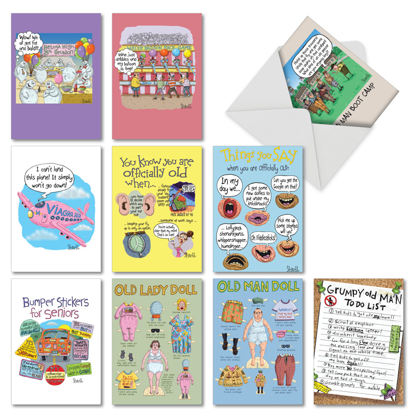 Mike Shiell's Senior Sillies: Hysterical Birthday Assorted Set of 10 Cards