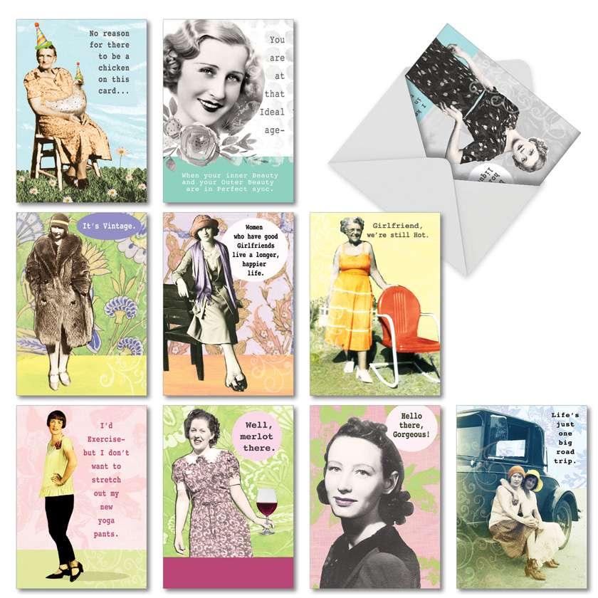 Debbie Tomassi's Badass Broads: Humorous Birthday Mixed Set of 10 Cards