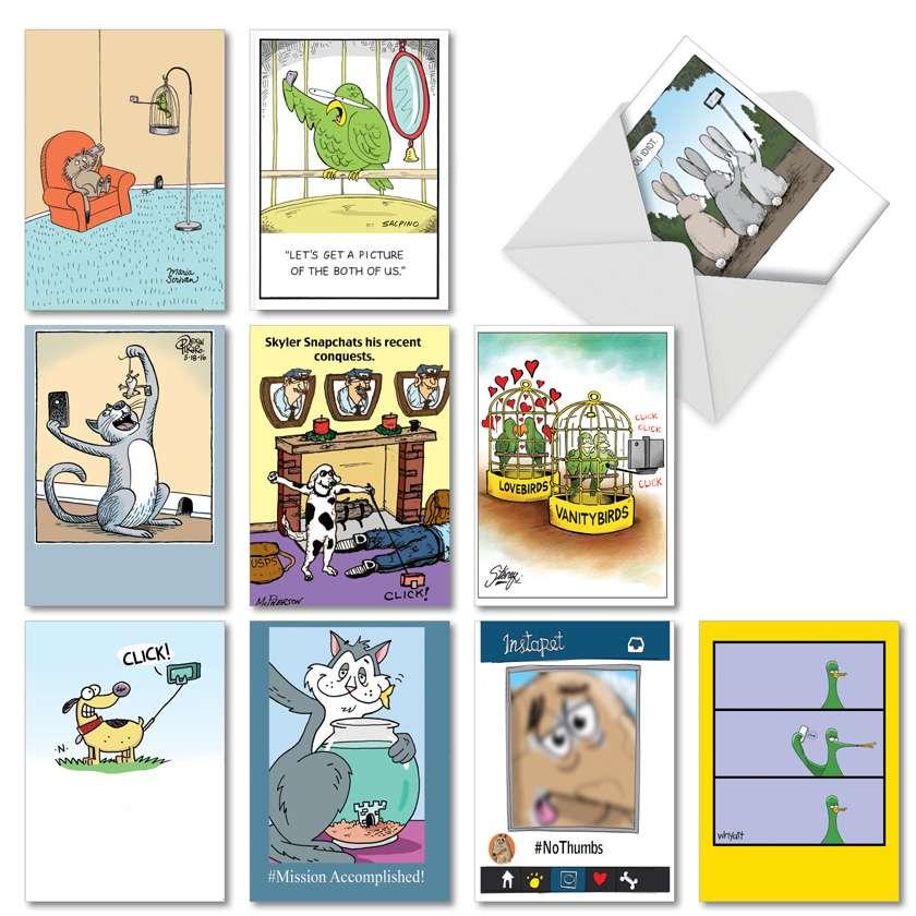 Pet Selfies: Humorous Birthday Assortment of 10 Cards