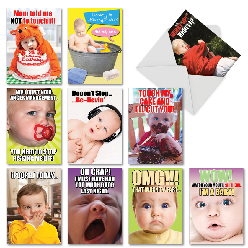 Oh Babies!: Funny Birthday Assortment of 10 Cards
