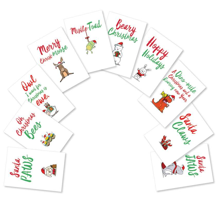 It Was The Pun Before Christmas: Creative Christmas Mixed Set of 10 Cards