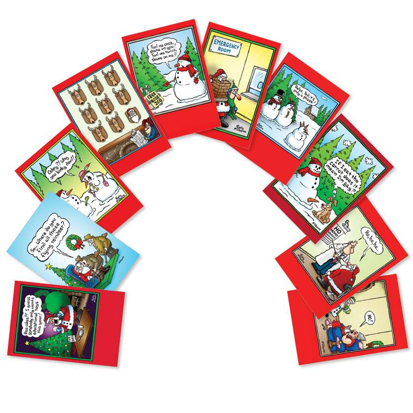 Holly Jolly Rice Cakes: Humorous Christmas Assortment of 10 Cards
