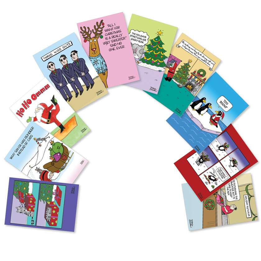 Three Wise Guys: Hysterical Christmas Mixed Set of 10 Cards