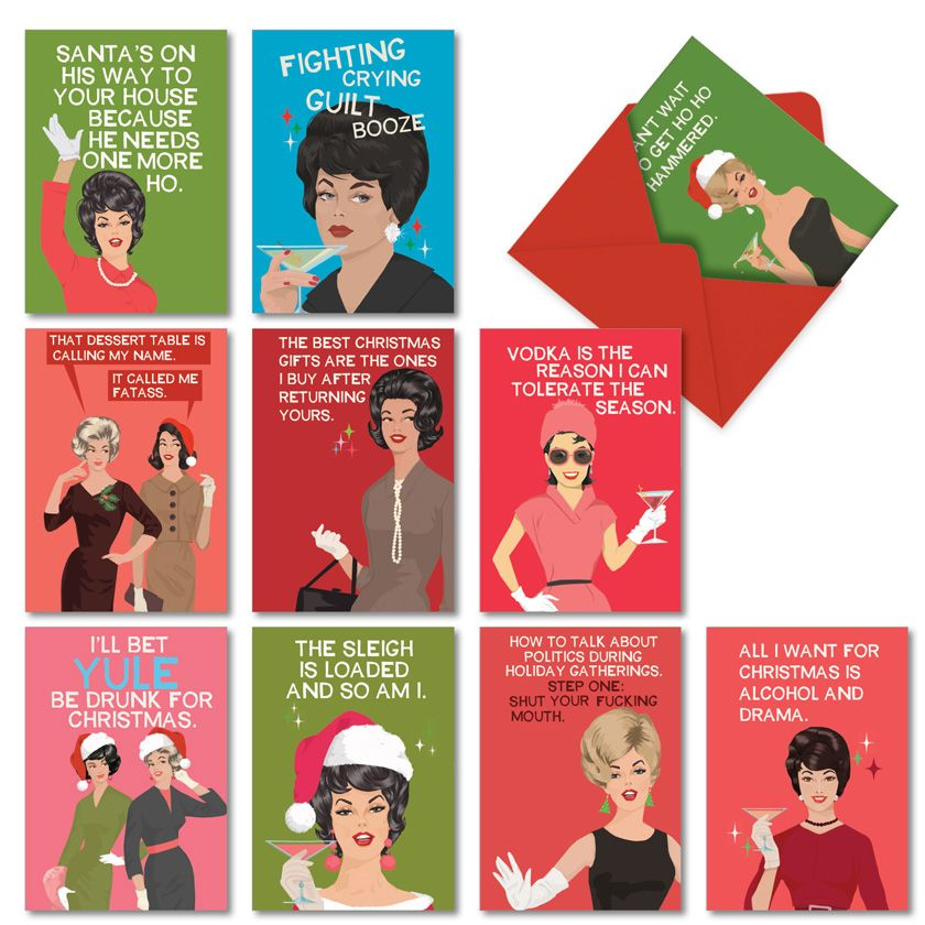 Merry and Blunt: Funny Merry Christmas Assorted Set of 10 Cards