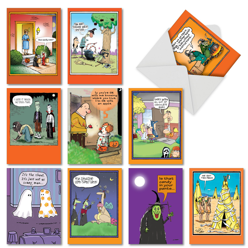 Halloween Humor: Hysterical Halloween Assorted Set of 10 Cards