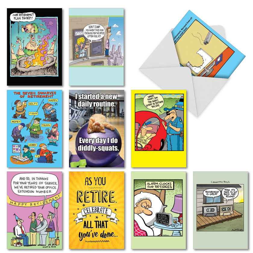 Ready For Retirement: Funny Retirement Mixed Set of 10 Cards