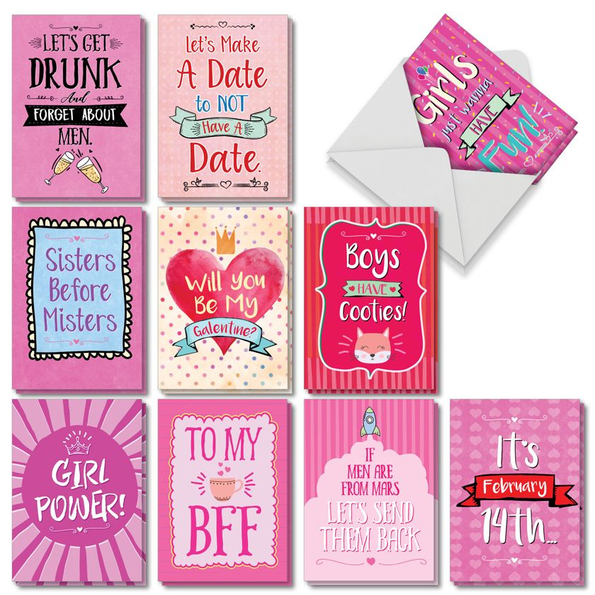 Be My Galentine: Funny Valentine's Day Assorted Set of 10 Cards
