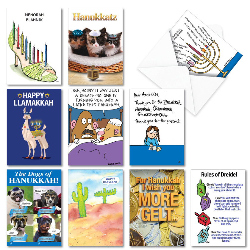 Hanukkah Humor: Hysterical Hanukkah Assorted Set of 10 Cards