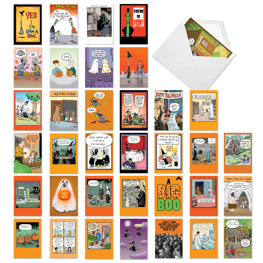 Halloween Hilarity: Funny Halloween Mixed Set of 36 Cards