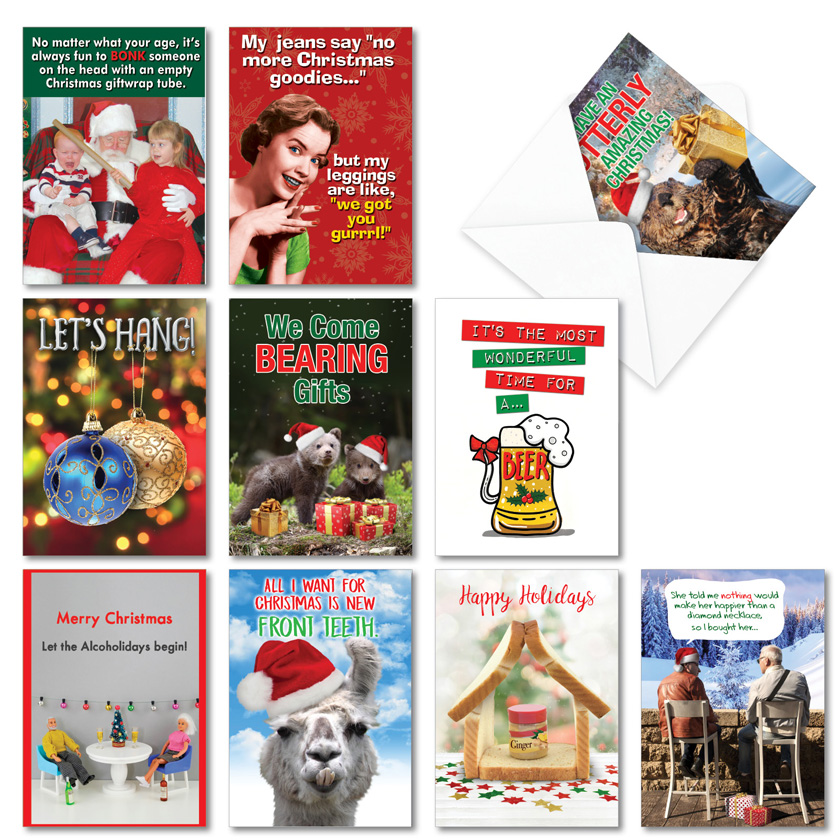 Holiday Laughs: Funny Merry Christmas Assortment of 10 Cards