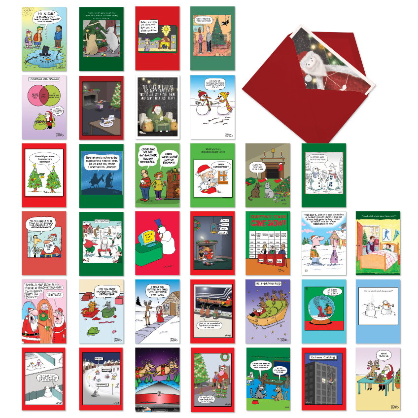 Merry Toons: Hilarious Merry Christmas Assorted Set of 36 Cards