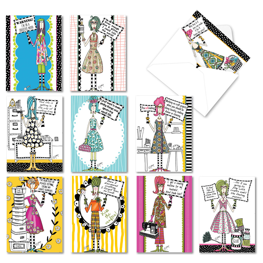 Crafty Women: Humorous All Occasions Blank Assortment of 10 Cards