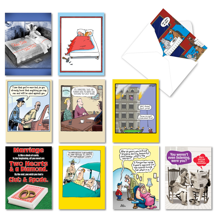 Comical Couples: Hysterical Anniversary Assorted Set of 10 Cards