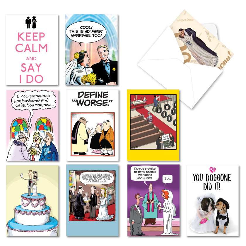 Marital Mania: Hysterical Wedding Congratulations Mixed Set of 10 Cards