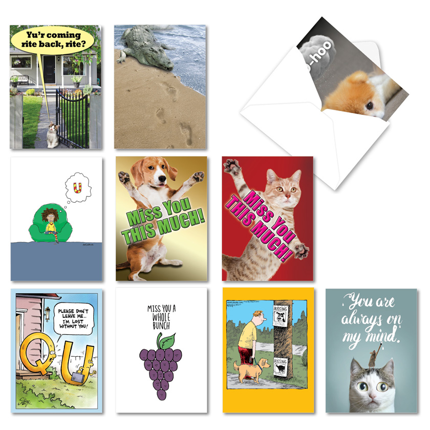 Miss U Much: Funny Miss You Assortment of 10 Cards