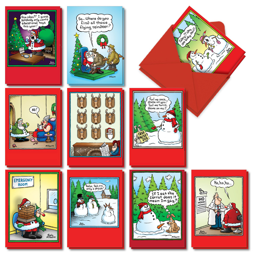 Holly Jolly Rice Cakes: Hysterical Merry Christmas Assorted Set of 20 Cards