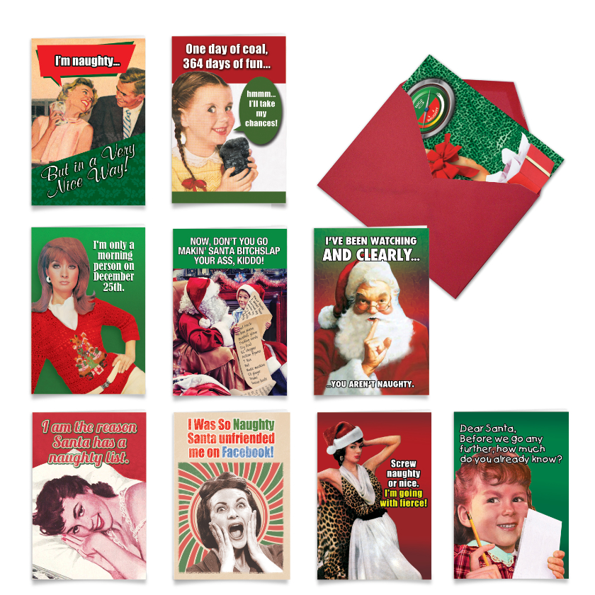 In a Very Nice Way: Hilarious Merry Christmas Mixed Set of 10 Cards
