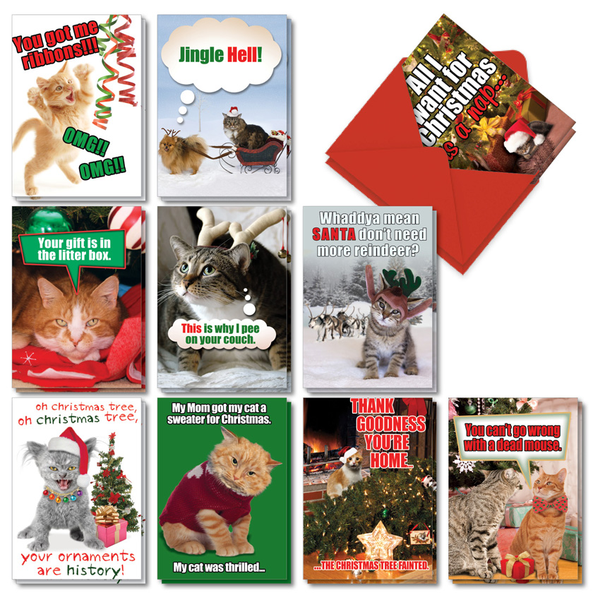 PetiGreet Cats Christmas: Funny Merry Christmas Mixed Set of 20 Cards