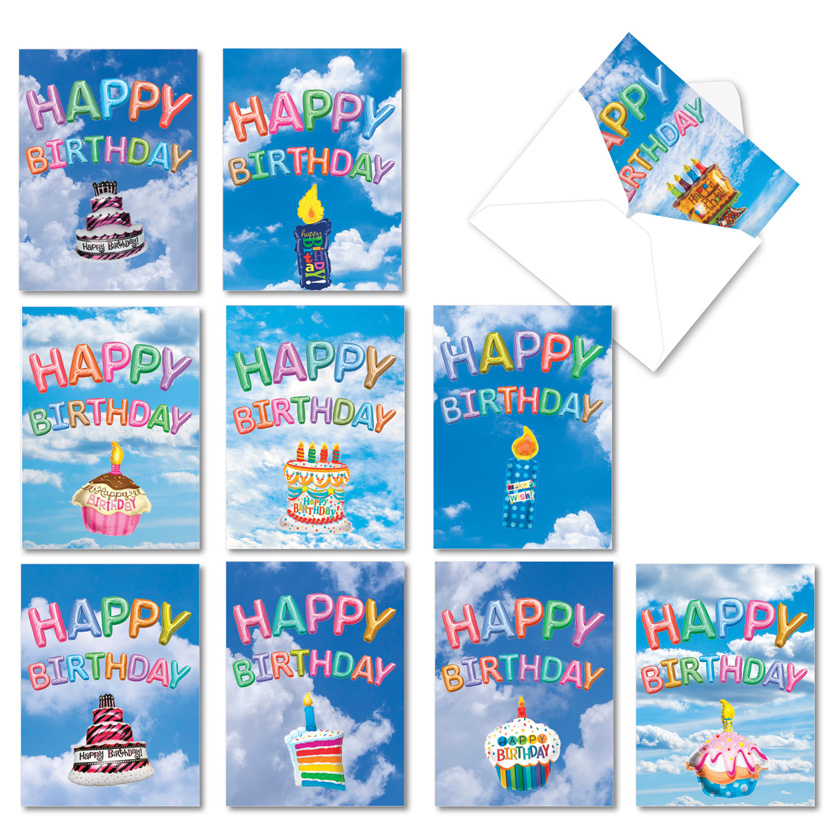 Inflated Messages: Creative Birthday Blank Assorted Set of 10 Cards