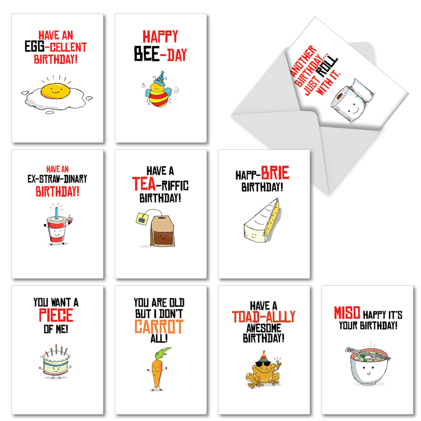 Birthday Puns: Stylish Birthday Assorted Set of 10 Cards