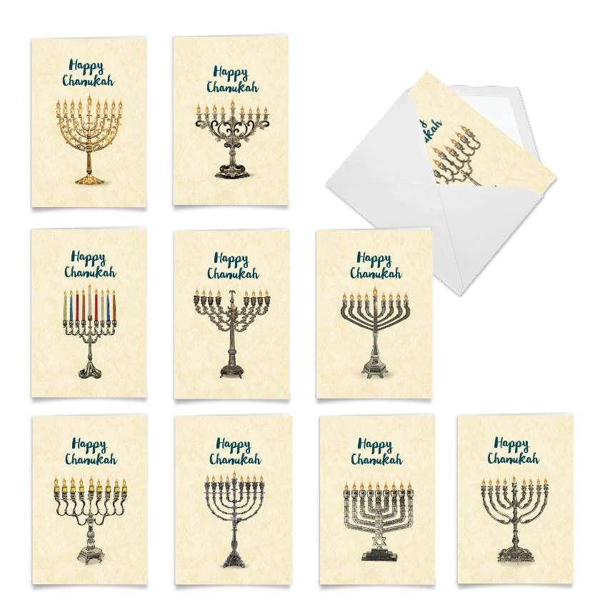 Hanukkiahs: Artful Chanukah Assortment of 10 Cards