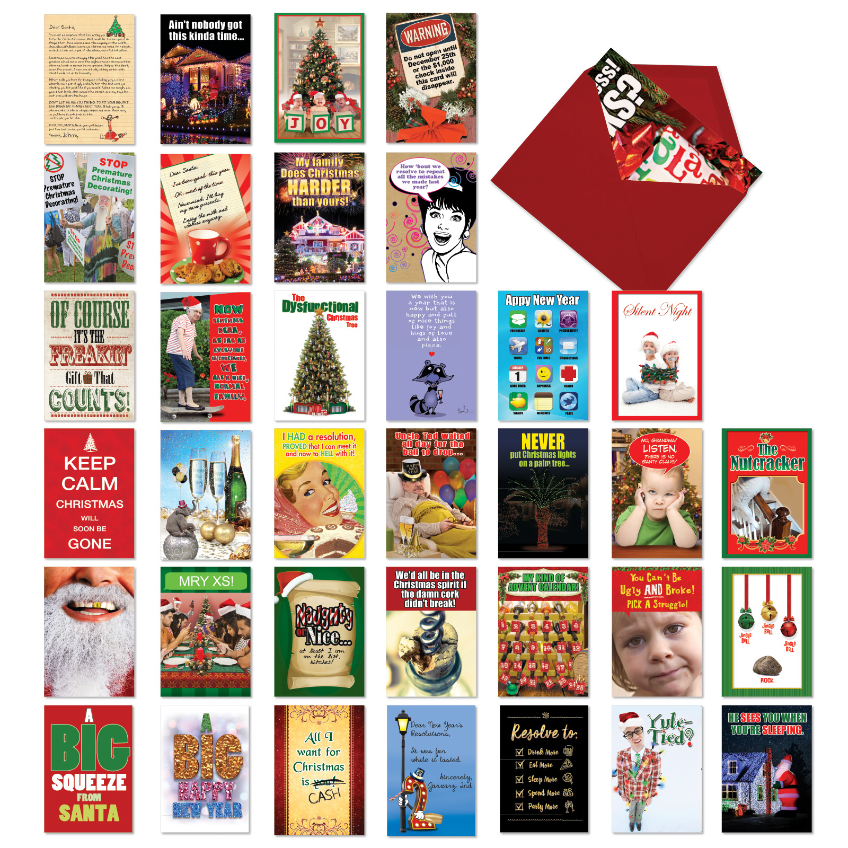 Humorous Holidays Collection: Humorous Mixed Occasions Assorted Set of 36 Cards