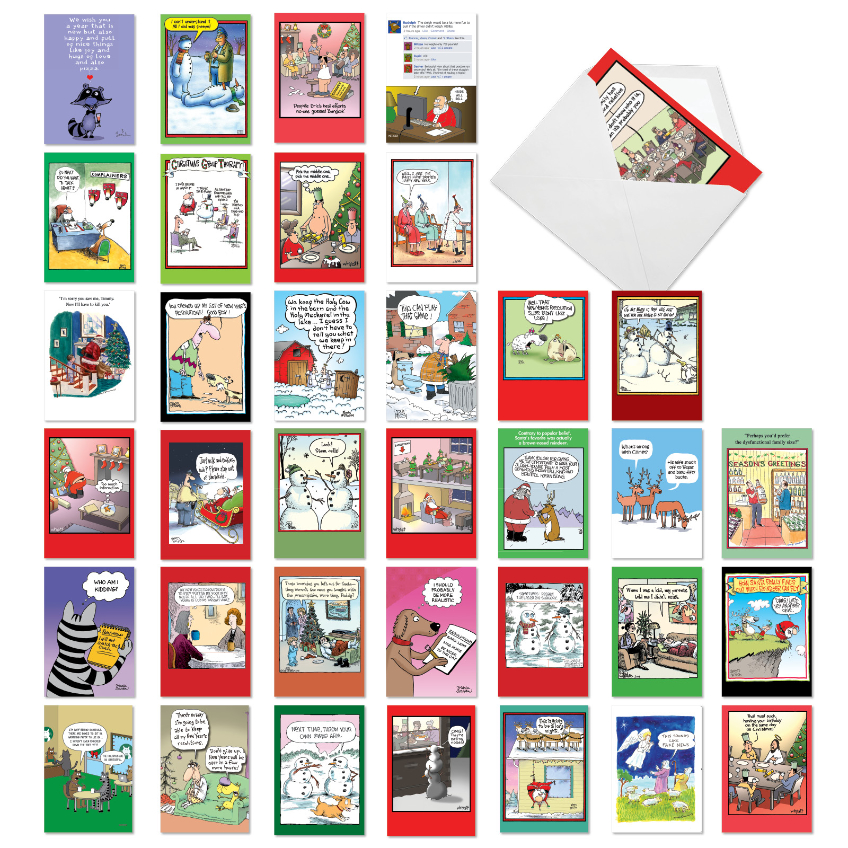 Favorite Holiday Toons Collection: Funny Mixed Occasions Assortment of 36 Cards
