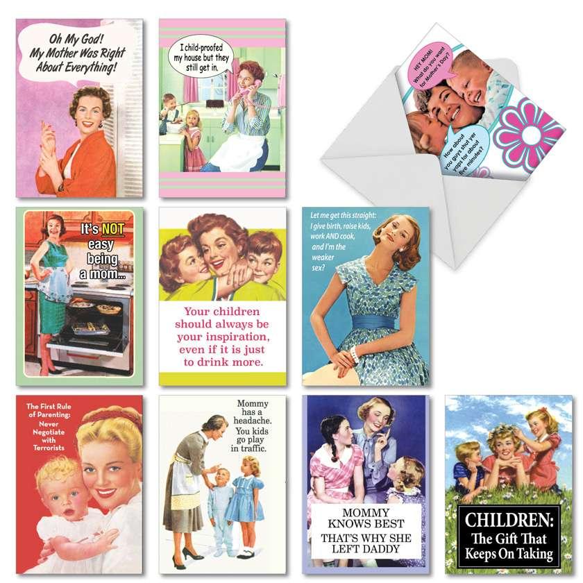 Memories of Motherhood: Hilarious Mother's Day Assortment of 10 Cards