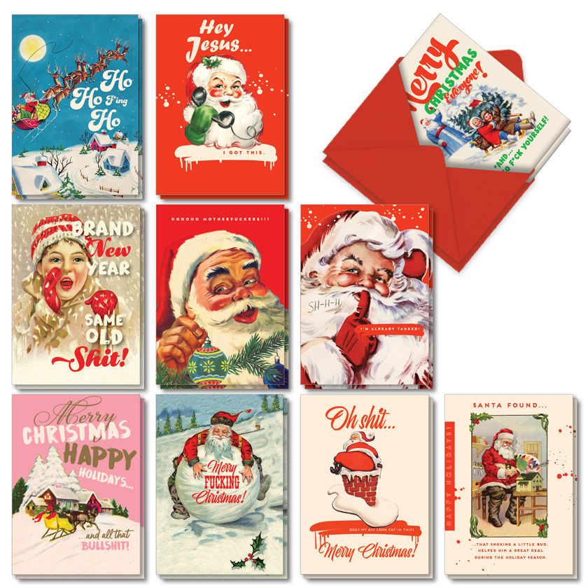 Very Merry O+D: Humorous Merry Christmas Assorted Set of 20 Cards