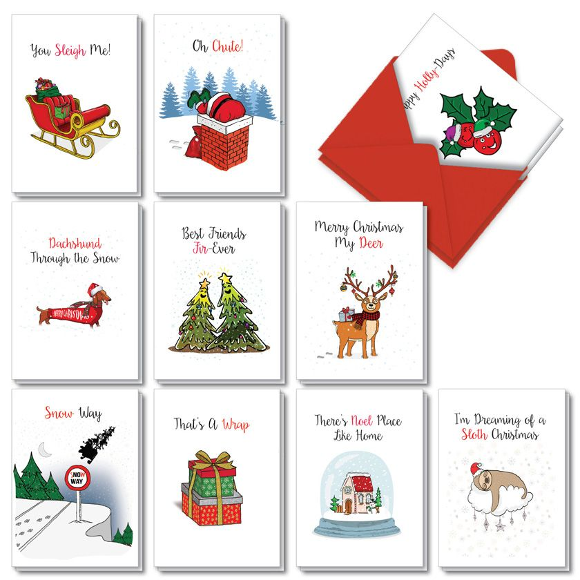 Punny Holidays: Stylish Merry Christmas Assorted Set of 20 Cards