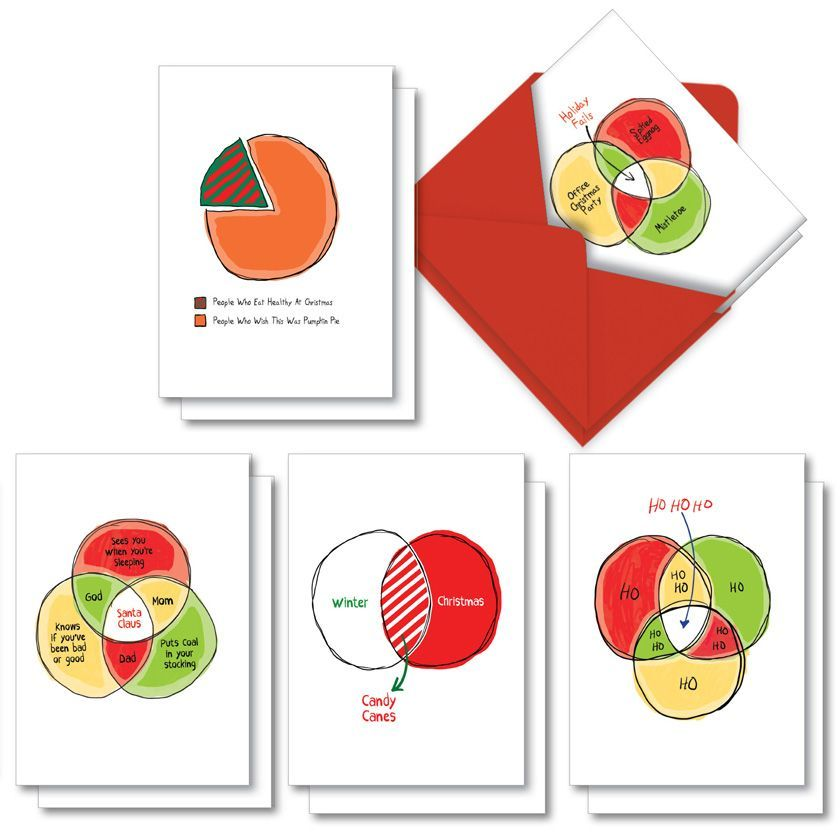 Off The Charts: Funny Merry Christmas Assorted Set of 10 Cards