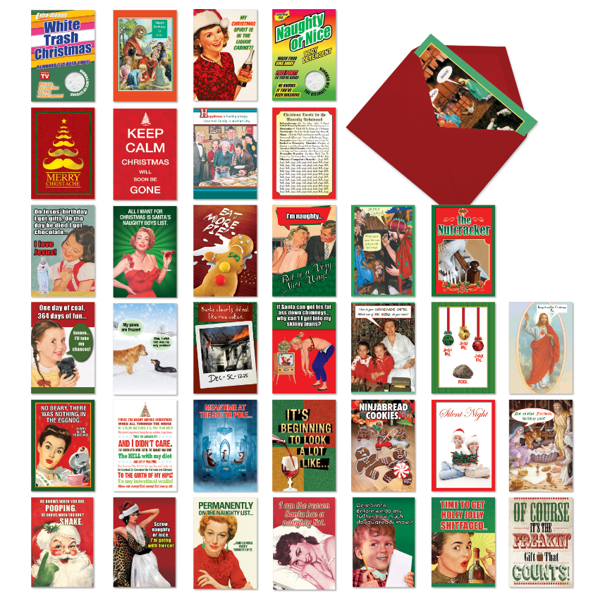 Humorous Holidays: Hysterical Merry Christmas Assorted Set of 36 Cards