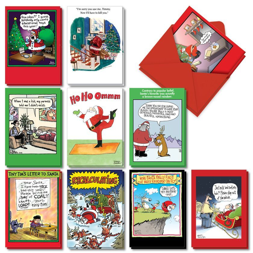 Santa's Coming To Town: Humorous Merry Christmas Assorted Set of 20 Cards