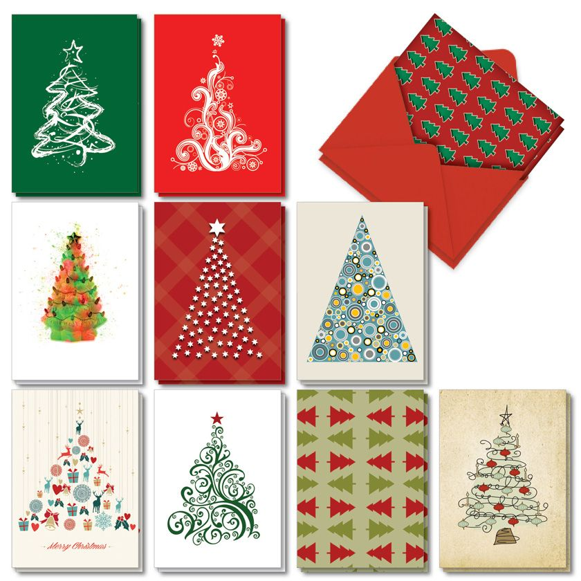 Christmas Tree Graphics: Creative Merry Christmas Mixed Set of 20 Cards