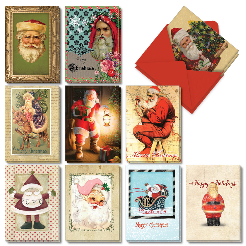 Stylish Santas: Creative Merry Christmas Assorted Set of 20 Cards