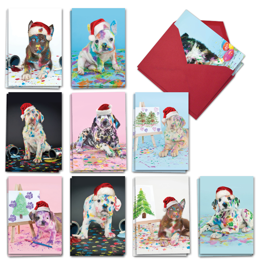 Holiday Dirty Dogs: Artful Merry Christmas Mixed Set of 20 Cards