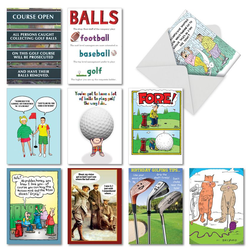 Par-Tee Time: Funny Birthday Mixed Set of 10 Cards
