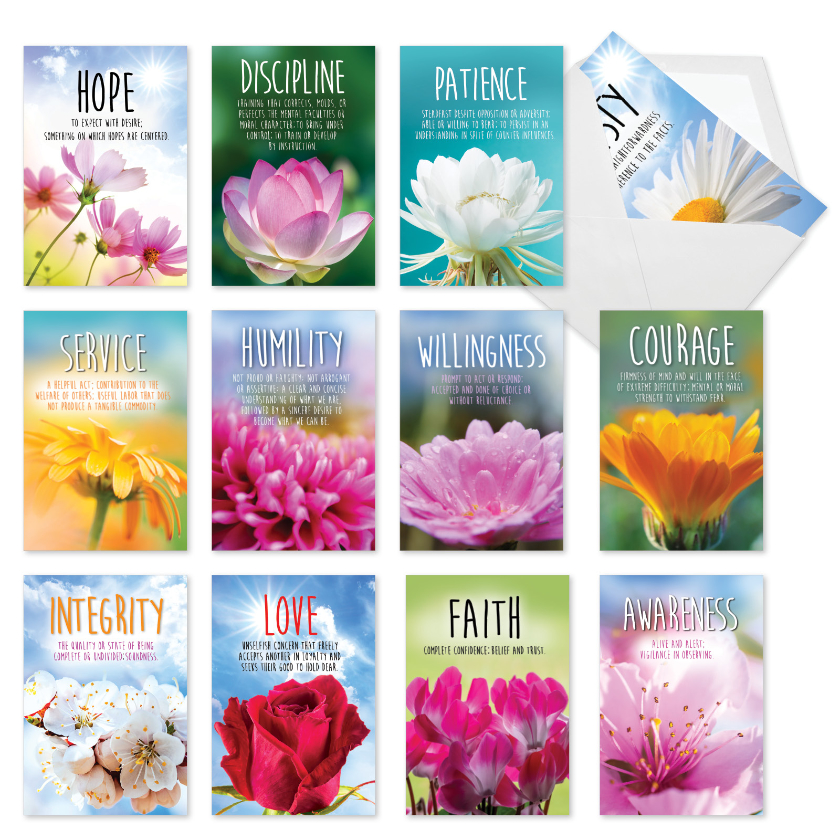 Sobriety Virtues: Stylish Recovery Blank Assorted Set of 12 Cards