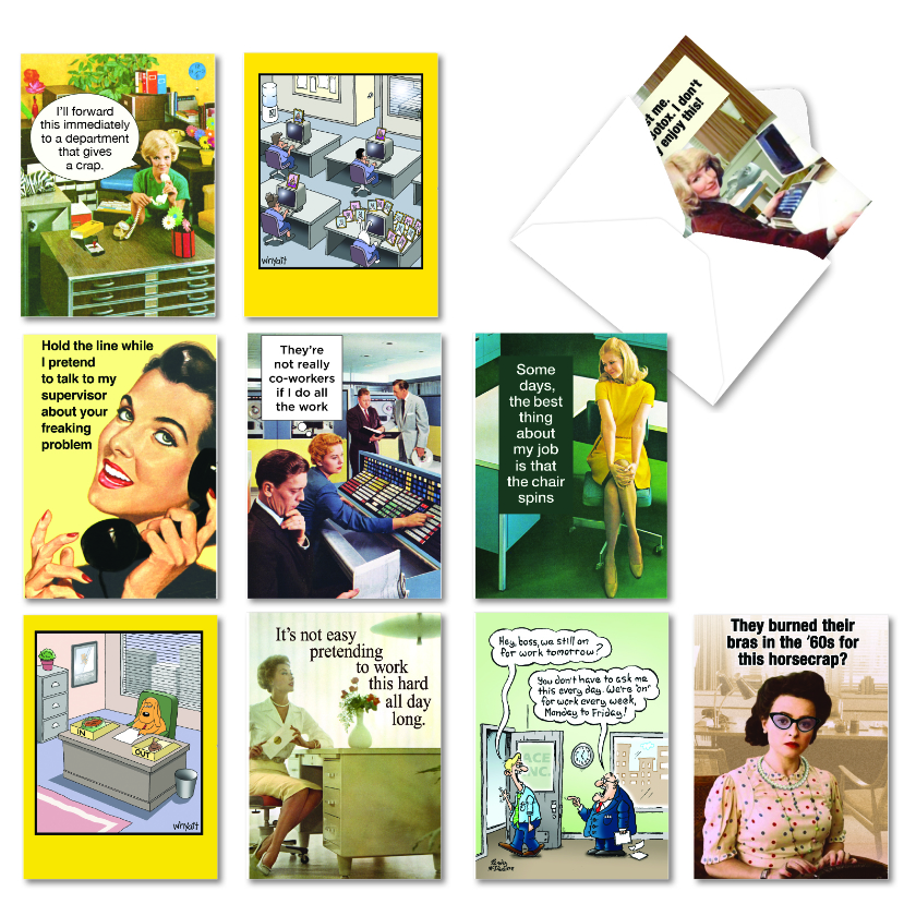 Workplace Woo-Hoo: Hilarious Milestone Anniversary Mixed Set of 10 Cards