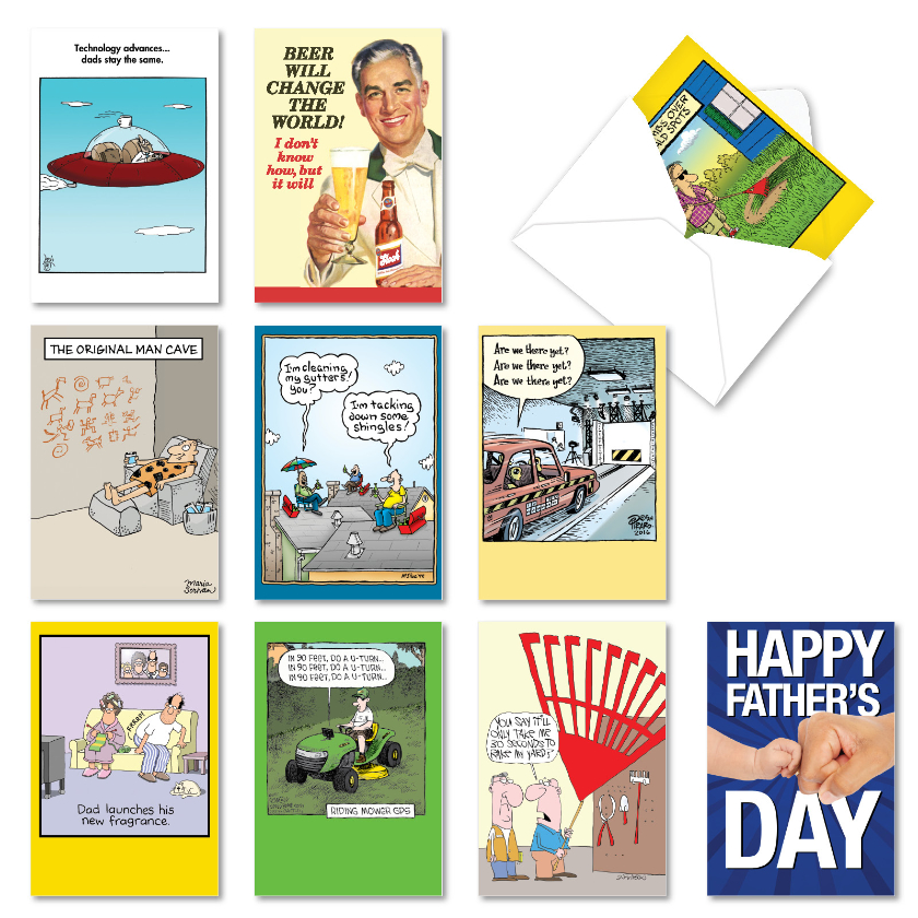 Dad Jokes: Funny Father's Day Assorted Set of 10 Cards