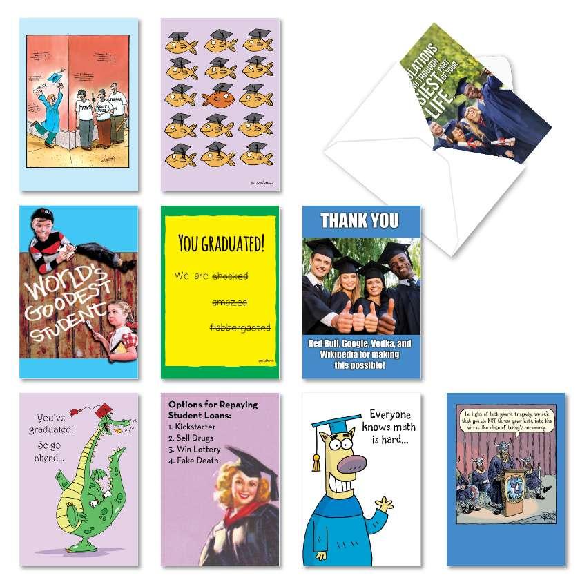 Grad Gags: Hilarious Graduation Mixed Set of 10 Cards