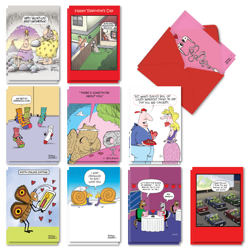 Heart Toons: Hysterical Valentine's Day Assorted Set of 20 Cards