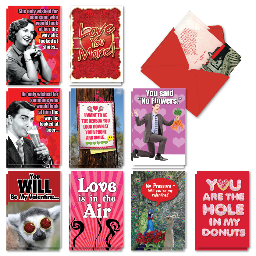 Love Laughs: Funny Valentine's Day Mixed Set of 20 Cards