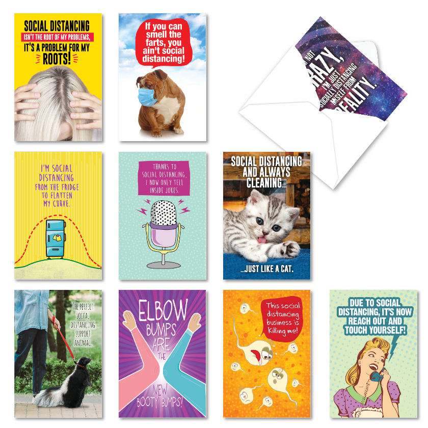 Socially Distanced: Hilarious Friendship Assortment of 10 Cards