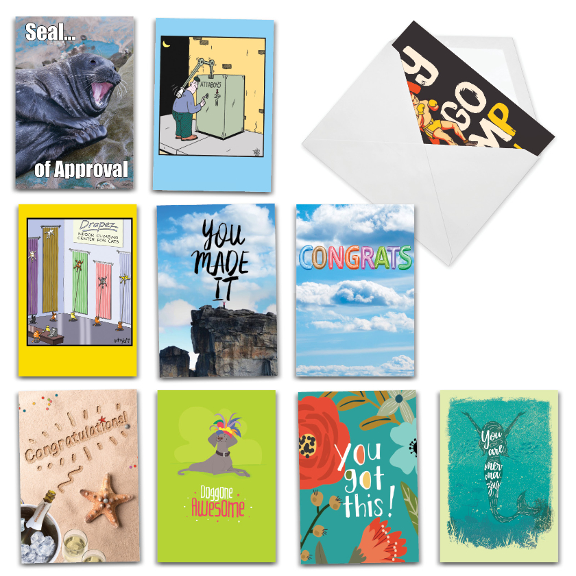 Funny Feats: Humorous Congratulations Assortment of 10 Cards