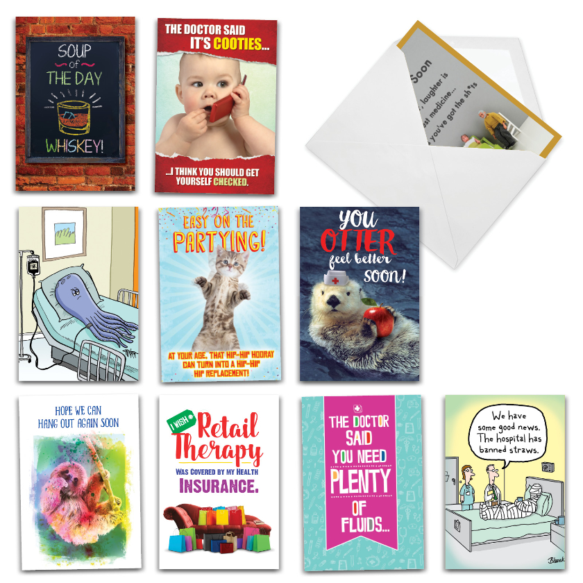 Best Remedies: Hysterical Get Well Assorted Set of 10 Cards