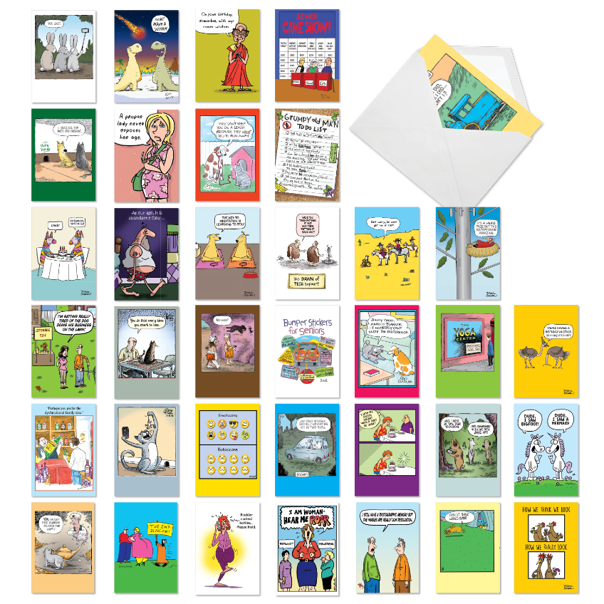 Cartoon Party: Funny Birthday Mixed Set of 36 Cards