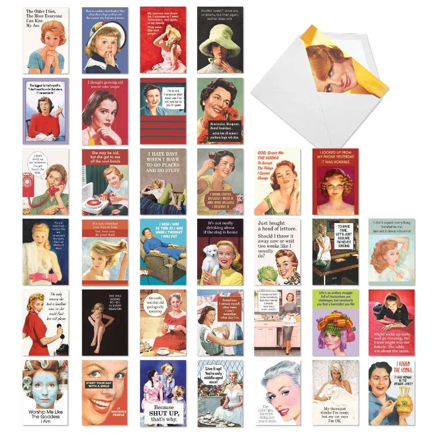 Ephemera Femme Festival: Hysterical Birthday Mixed Set of 36 Cards