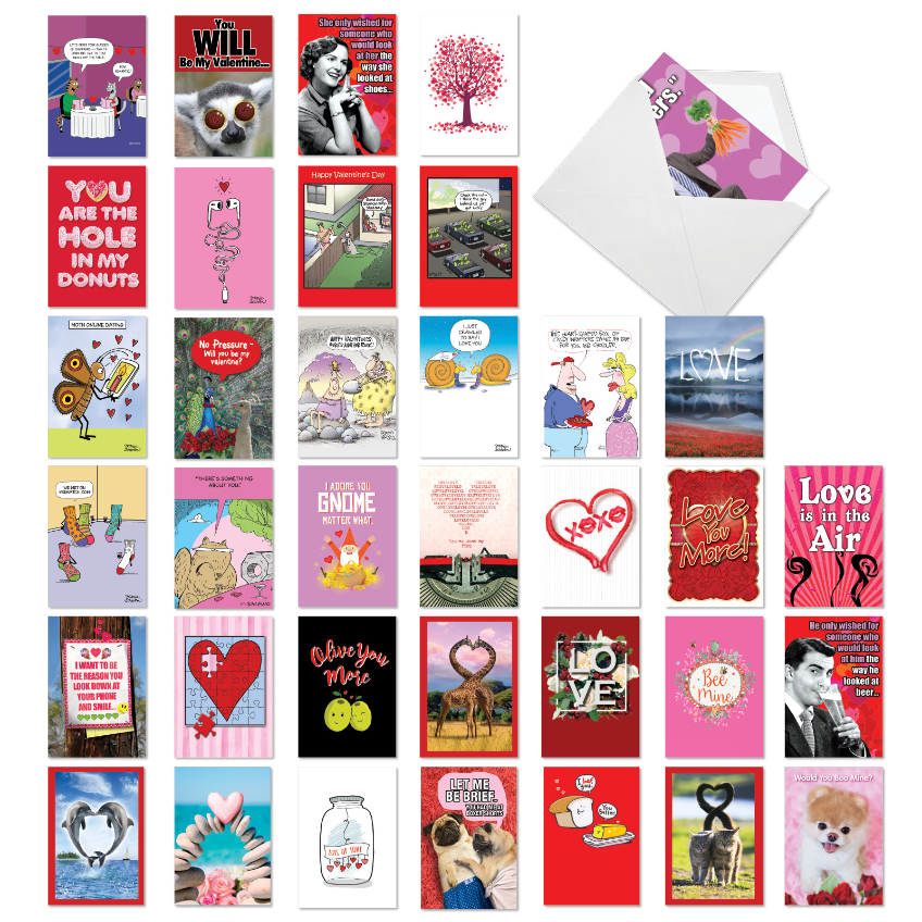 Be Mine: Humorous Valentine's Day Mixed Set of 36 Cards